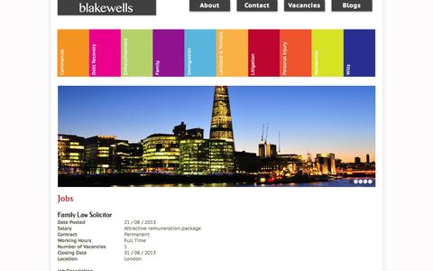 Screenshot of Jobs Page blakewells.co.uk - Jobs | Blakewells Commercial, Litigation Solicitors Stratford, London - captured Oct. 5, 2014