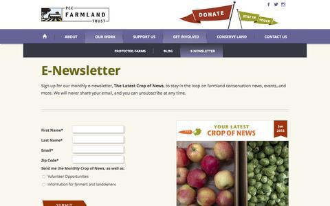 Screenshot of Signup Page pccfarmlandtrust.org - Farmland News and Information - PCC Farmland Trust - captured July 9, 2016