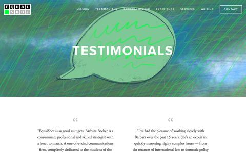 Screenshot of Testimonials Page equalshot.com - Testimonials — EqualShot - captured July 14, 2016