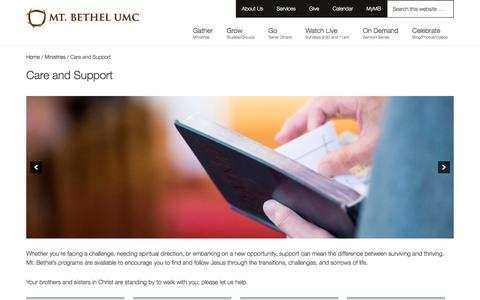 Screenshot of Support Page mtbethel.org - Care and Support - Mt. Bethel United Methodist Church - captured Nov. 1, 2017