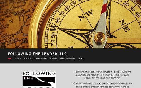 Screenshot of Home Page followingtheleader.com - Following The Leader, LLC - captured Oct. 6, 2014