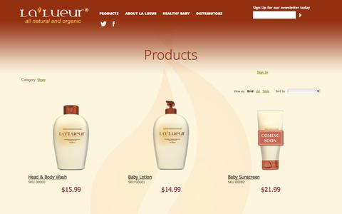 Screenshot of Products Page lalueur.net - Products | Lalueur - captured Sept. 27, 2014