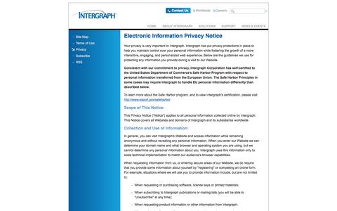 Screenshot of Privacy Page intergraph.com - Intergraph | Electronic Information Privacy Notice - captured Sept. 19, 2014