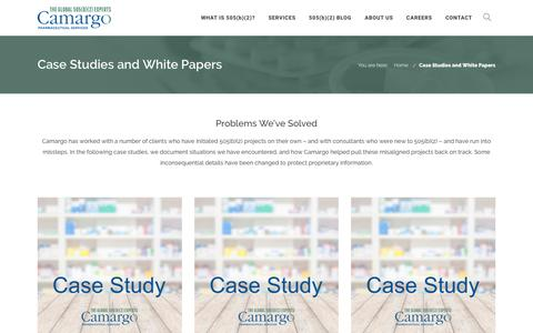 Screenshot of Case Studies Page camargopharma.com - 505(b)(2) Case Studies and White Papers   Camargo - captured Oct. 18, 2016
