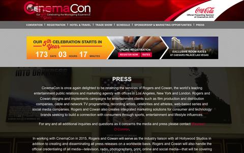 Screenshot of Press Page cinemacon.com - PRESS | CinemaCon - captured Oct. 28, 2014