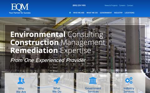 Screenshot of Home Page eqm.com - HOME - Environmental Quality Management, Inc. - captured Sept. 28, 2018