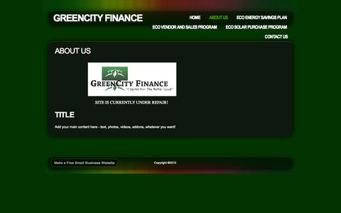 Screenshot of About Page webs.com - About Us - GreenCity Finance - captured Sept. 13, 2014