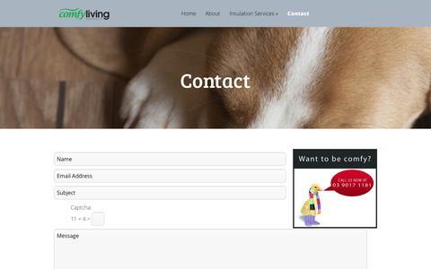 Screenshot of Contact Page comfyliving.com.au - Contact - Comfy Living - captured Nov. 10, 2016