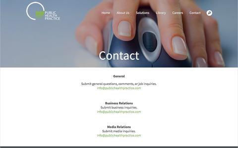 Screenshot of Contact Page publichealthpractice.com - Public Health Practice LLCContact - Public Health Practice LLC - captured Nov. 15, 2016