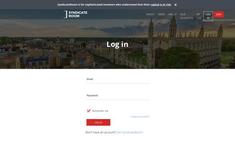 Screenshot of Login Page syndicateroom.com - Investors' dashboard | SyndicateRoom - captured Sept. 21, 2018