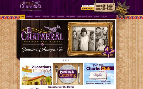 Screenshot of Home Page elchaparral.com - El Chaparral | Mexican Restaurant San Antonio Tx - captured Sept. 29, 2014