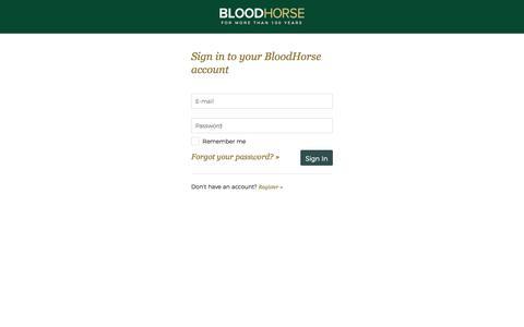 Screenshot of Login Page bloodhorse.com - Sign In - BloodHorse - captured Sept. 24, 2018