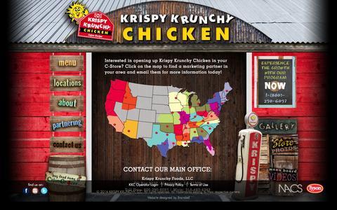 Screenshot of Contact Page krispykrunchy.com - Contact a Krispy Krunchy Representative Near You - captured Feb. 12, 2016