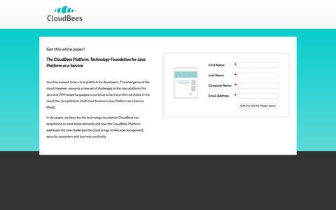 Screenshot of Landing Page cloudbees.com - The CloudBees Platform: Technology Foundation for Java Platform as a Service - captured Oct. 5, 2016