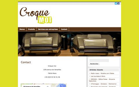 Screenshot of Contact Page croquemoi.fr - Contact | Croque moi - captured Sept. 30, 2014