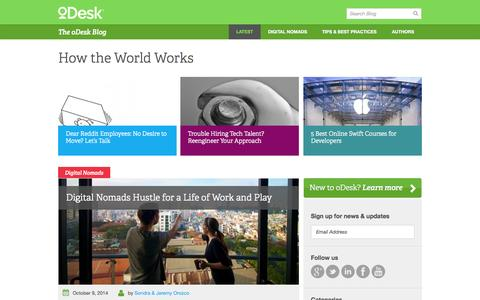 Screenshot of Blog odesk.com - oBlog - oDesk - The Future of Work - captured Oct. 10, 2014