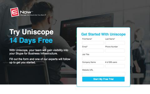 Screenshot of Trial Page enowsoftware.com - Visibility Into Skype For Business - Uniscope Free Trial | ENow - captured June 19, 2017