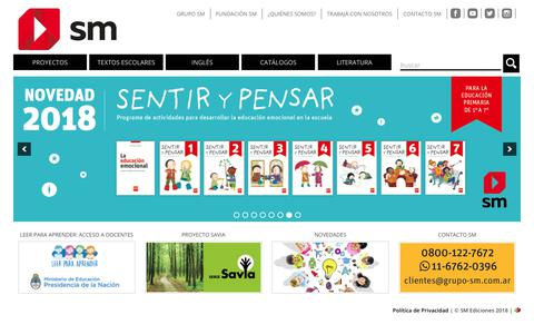 Screenshot of Home Page sm-argentina.com - Editorial SM Argentina | Textos escolares y literatura - captured Oct. 1, 2018