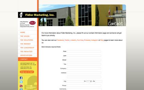 Screenshot of Contact Page fidlermarketing.com - Contact Fidler Marketing  :: Fidler Marketing, Inc. - captured Jan. 8, 2016