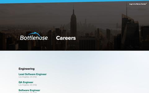 Screenshot of Jobs Page bottlenose.com - Bottlenose - Smart Data Discovery, for Everyone - captured Jan. 12, 2016