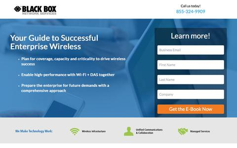Screenshot of Landing Page blackbox.com - Strategies for Successful Enterprise Wireless - captured May 4, 2016