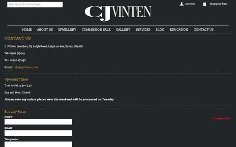 Screenshot of Contact Page cjvinten.co.uk - Contact Us | cjvinten.co.uk - captured Sept. 25, 2018