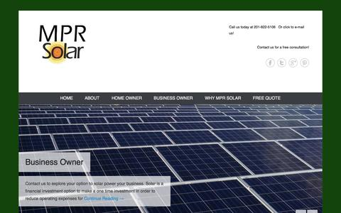 Screenshot of Home Page Menu Page mprsolar.com - MPR Solar - captured Sept. 30, 2014