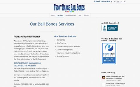 Screenshot of Services Page frontrangebb.com - Services - Front Range Bail Bonds - captured Feb. 10, 2016