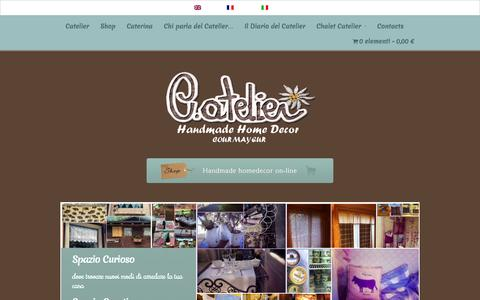 Screenshot of Home Page catelier.it - Catelier - Handmade Home Decor - Courmayeur - captured Oct. 13, 2015