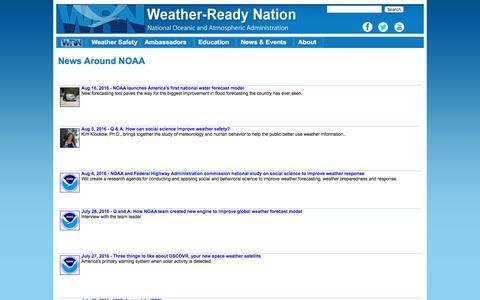 Screenshot of Press Page noaa.gov - News Around NOAA - captured Aug. 19, 2016