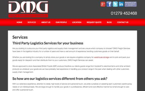 Screenshot of Services Page dmg-freight.com - Third Party Logistics offered by DMG Freight Services - captured July 6, 2017