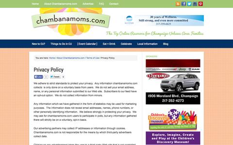 Screenshot of Privacy Page chambanamoms.com - Privacy Policy - captured Sept. 25, 2014