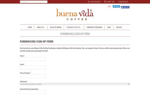 Screenshot of Signup Page buenavidacoffee.com - Fundraising Sign-Up Form                           | Buena Vida Coffee - captured July 30, 2016