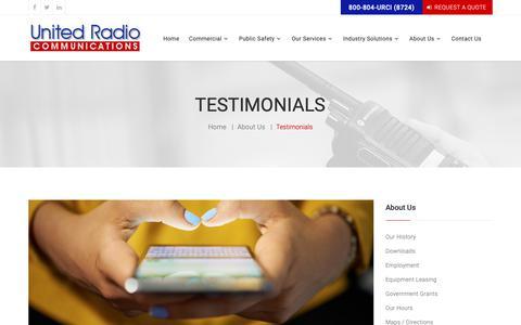 Screenshot of Testimonials Page urci.com - Read Our Customer Testimonials United Radio Communications, Inc. Chicago Illinois - captured Oct. 18, 2018