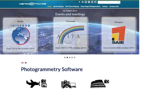 Screenshot of Home Page menci.com - Menci Software | 3D Map Software | Topography software | Image processing from Aerial, Drone and Close-range image - captured Oct. 6, 2014