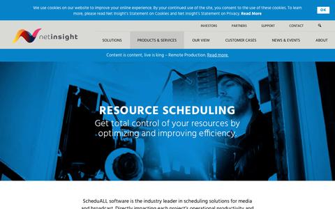 Screenshot of Products Page netinsight.net - Products – Resource Scheduling   Net Insight - captured Sept. 20, 2018