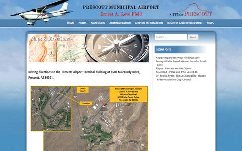 Screenshot of Maps & Directions Page prcairport.com - Maps & Directions - Prescott Municipal Airport - captured March 3, 2016