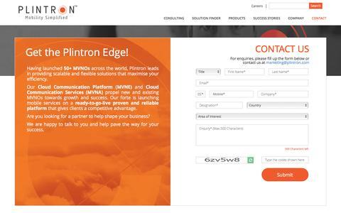 Screenshot of Contact Page plintron.com - CONTACT US - captured May 19, 2017