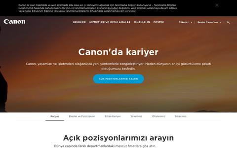 Screenshot of Jobs Page canon.com.tr - Canon'da Kariyer Olanakları ve Pozisyonlar - Canon Eurasia - captured Sept. 26, 2018