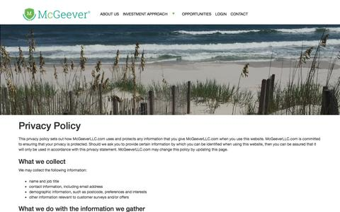 Screenshot of Privacy Page mcgeeverllc.com - Privacy Policy – McGeever LLC - captured June 10, 2017