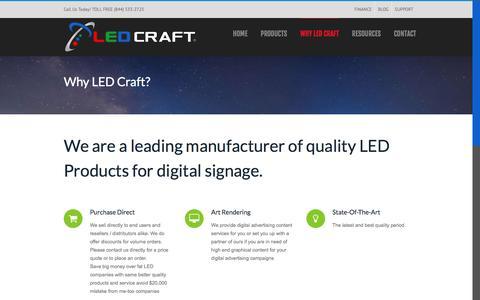 Screenshot of Support Page ledcraftinc.com - Why LED Craft | LED Products & Singage - captured Oct. 5, 2016