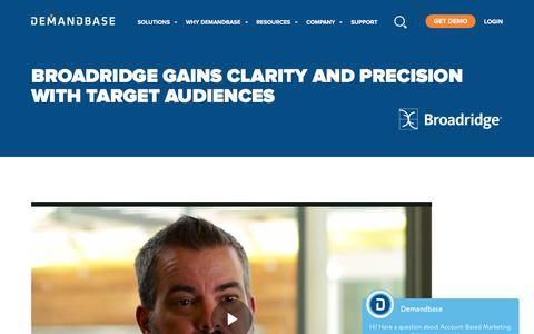 Screenshot of Case Studies Page demandbase.com - Broadridge leverages ABM for clarity and precision - captured Nov. 6, 2019
