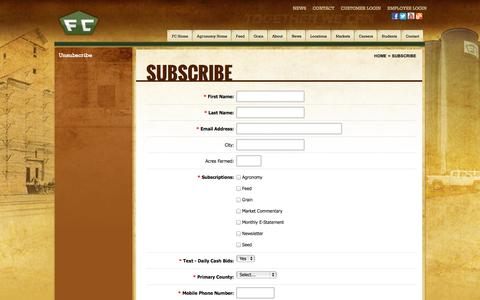 Screenshot of Signup Page fccoop.com - Subscribe | Farmers Cooperative - captured Oct. 5, 2014