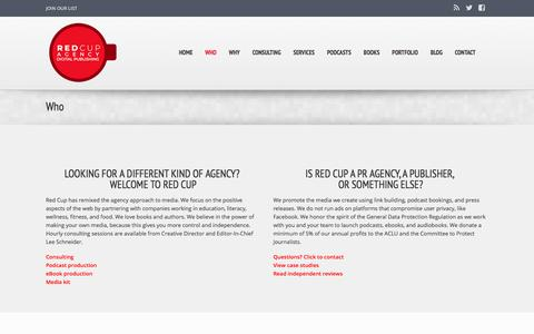 Screenshot of About Page redcupagency.com - Who Is Behind Red Cup? | Podcast Agency | Digital Publishing | eBooks and audiobooks - captured July 8, 2018