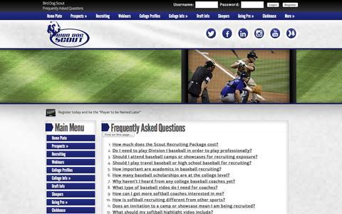 Screenshot of FAQ Page birddogscout.com - FAQs - captured Sept. 30, 2014