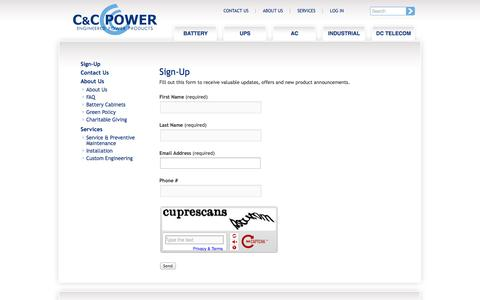 Screenshot of Signup Page ccpower.com - Sign-Up | C&C Power - captured Oct. 1, 2014