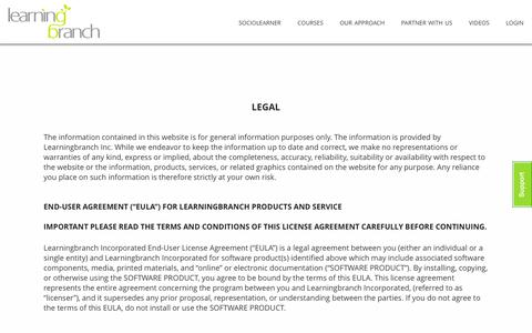 Screenshot of Terms Page learningbranch.com - legal | LearningBranch Inc. - captured Jan. 27, 2016