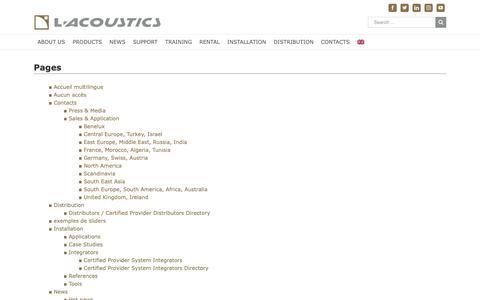 Screenshot of Site Map Page l-acoustics.com - Site map - L-Acoustics - captured Nov. 1, 2018