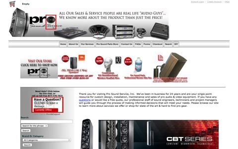 Screenshot of Home Page prosoundservice.com - Pro Sound Service, Inc. | Pro Audio Video Sales, Repair & Installation in Boston - captured Oct. 3, 2014