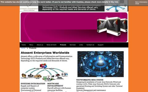 Screenshot of Products Page atosentnigltd.com captured Feb. 6, 2016